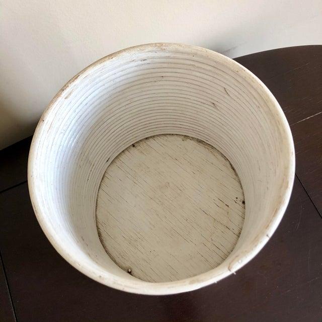 Vintage painted white pencil reed rattan planter or wastebasket.