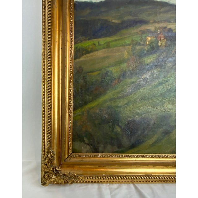 19th Century 19th Century Plein Air Landscape by Fredrik Borgen, Framed Oil Painting For Sale - Image 5 of 13