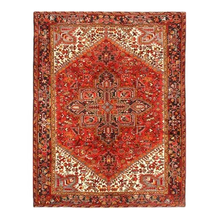 Pasargad Rust Antique Persian Heriz Serapi Rug 7' X 9' For Sale