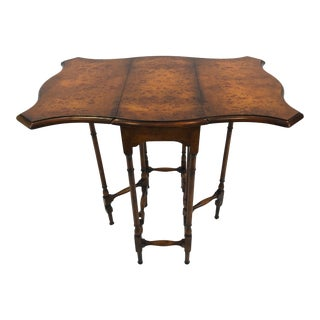 1980s Traditional Theodore Alexander Dropleaf Gateleg Burl Wood Side Table For Sale
