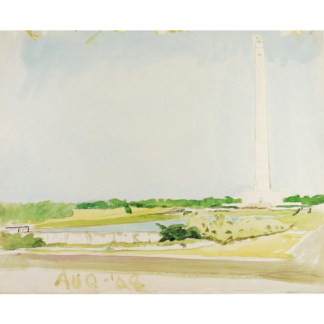 1940s San Jacinto Monument Watercolor Painting For Sale - Image 5 of 5
