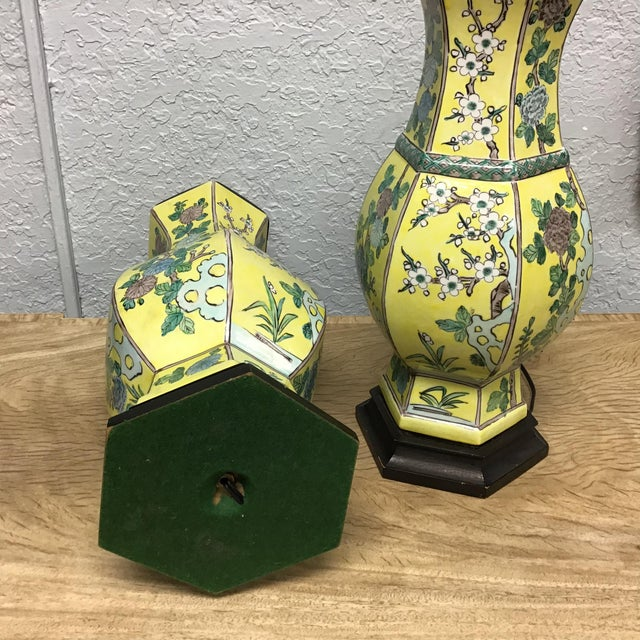 Vintage Pair Chinese Famille Juane Style Lamps For Sale - Image 4 of 9