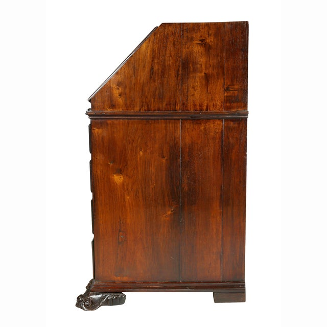 Portuguese Colonial Brazilian Solid Rosewood Slant Lid Writing Desk For Sale - Image 11 of 13