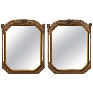 Gold Gilt Wooden Wall Mirrors - Pair For Sale
