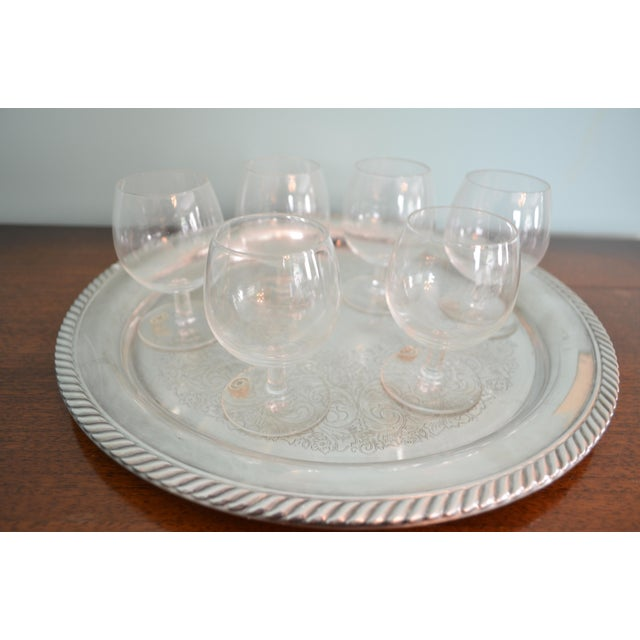 Vintage 1980s Drinks Tray & Val St-Lambert Cordial Glasses - 7 Piece Set For Sale - Image 4 of 4