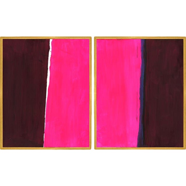 Evy Diptych Art Print in Walnut Frame For Sale