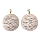 Image of Italian Glazed Ceramic Braided Rope Lamps