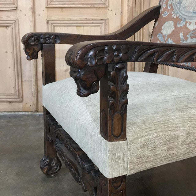 Late 19th Century 19th Century Spanish Armchair With Needlepoint Tapestry For Sale - Image 5 of 10