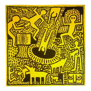 "Keith Haring Estate Rare Vintage 1993 Collector's Pop Art Lithograph Print ""Yellow People"" 1981 For Sale"