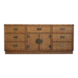Vintage Wicker Dresser of Nine Drawers For Sale