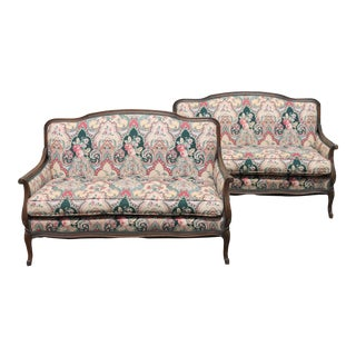 1940s Carved Walnut Upholstered Sofas - a Pair