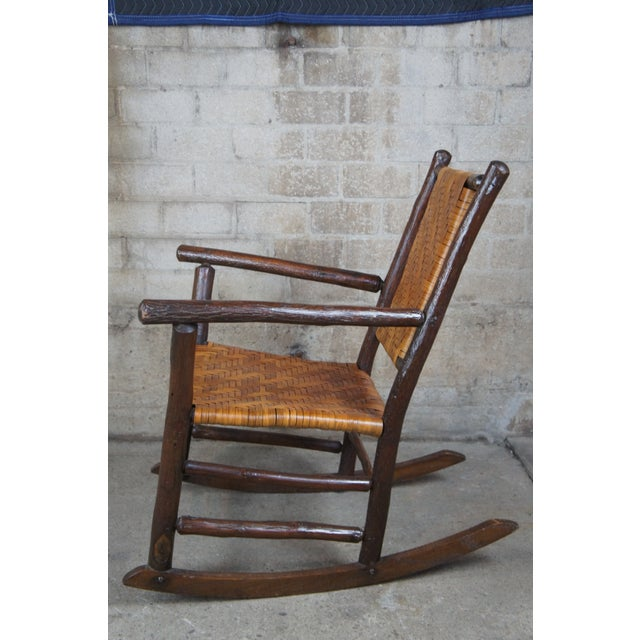 Wood Rustic Hickory Furniture Company No. 21 Rocker Adirondak Lodge Rocking Chair For Sale - Image 7 of 12