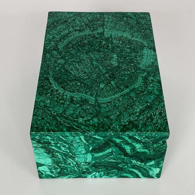Large Modern Malachite Stone Jewelry Box For Sale - Image 4 of 13