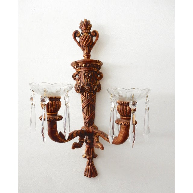 French Wood Candle Holder Sconces - Pair - Image 10 of 11
