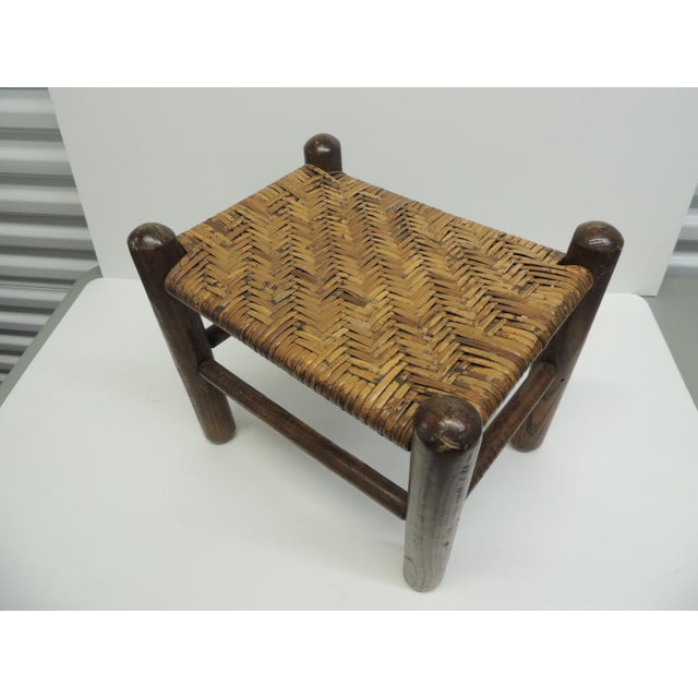 Vintage Country Wood and Rattan Woven Seat with Four Legs Adirondack Style - Image 2 of 4