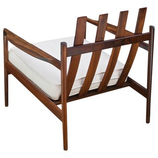 1950s Kofod-Larsen Brazilian Rosewood Danish Picket Lounge Chair Mid-Century For Sale