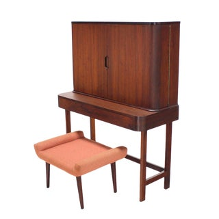 Rosewood Art Deco Open Up Vanity with Light For Sale