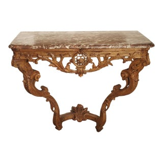 Early 18th Century Oak Regence Console With Rouge Marble Top For Sale