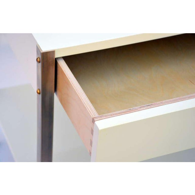 Pair of Minimalist Ivory Lacquer and Brass Nightstands For Sale In Los Angeles - Image 6 of 11