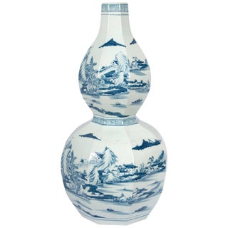Octagon Double Gourd Shaped Blue and White Vase For Sale