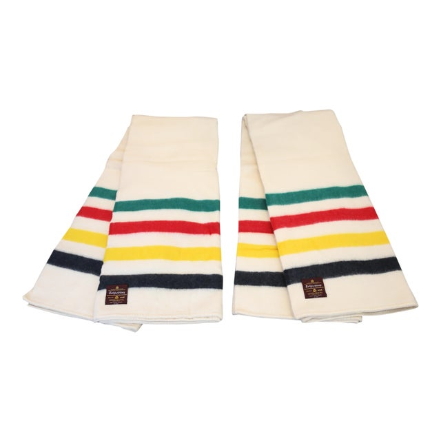 Vintage New Old Stock Early's of Witney Four Point Color Stripe Wool Blankets - a Pair For Sale