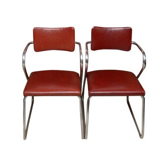 "1960s Mid-Century Modern Tubular Chrome and Vinyl ""Z"" Chairs - a Pair"