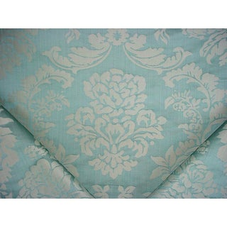 Brunschwig Et Fils Bolton Damask Aqua Floral Drapery Upholstery Fabric - 8-1/4y For Sale
