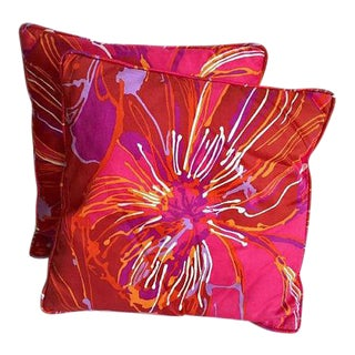 Vintage Throw Pillows Bold Abstract Floral Pink Orange Hues - A PAIR