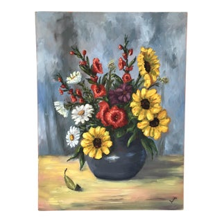 1990's Floral Still Life With Gladiolas Painting Signed Juca For Sale