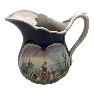1900's Vintage English Ironstone Double Sided Pitcher For Sale