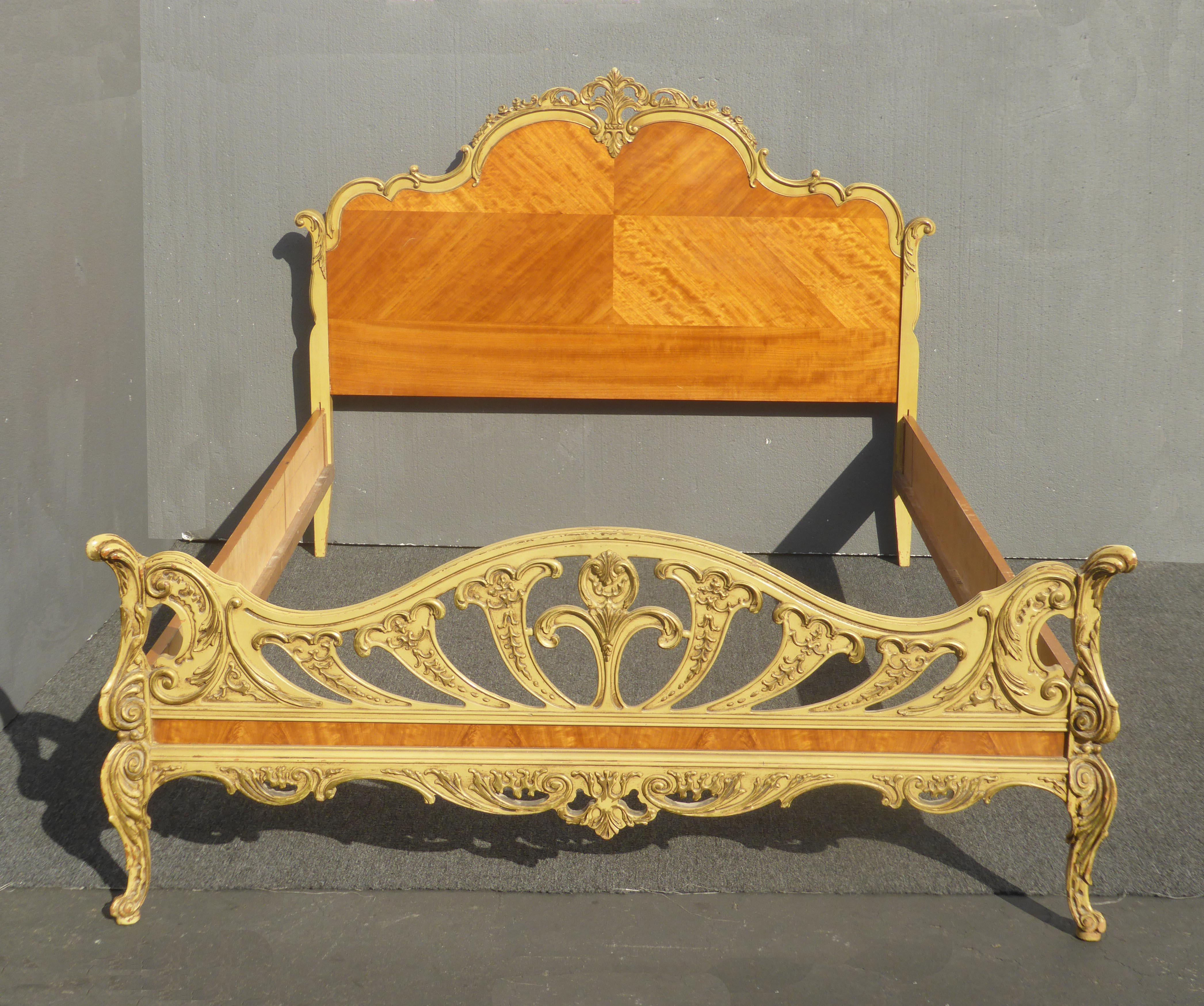 1920s Antique French Full Bed Frames Louis Xvl Rococo Ornate