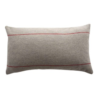 FirmaMenta Italian Red Striped Sustainable Wool Lumbar Pillow For Sale