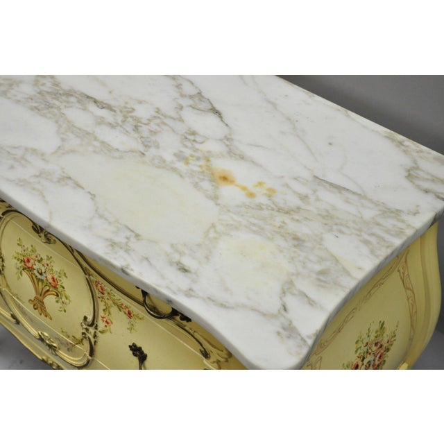 White Cream Floral Painted Marble Top Commode For Sale - Image 8 of 11