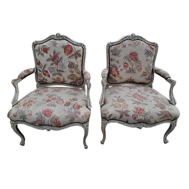 Pair French Needlepoint Bergeres Antique Pair of Shabby French Country Armchairs For Sale In Philadelphia - Image 6 of 6