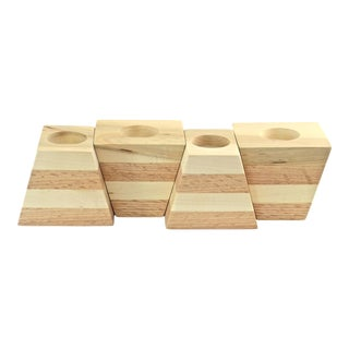 Modular Two-Tone Wood Candle Holders - Set of 4 For Sale