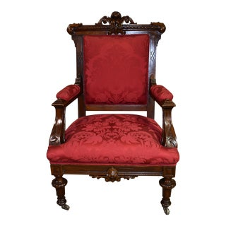 1900s Antique Gothic Revival Victorian Carved Walnut Parlor Chair For Sale