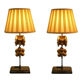 French Giltwood Elements Made Into Lamps - a Pair For Sale
