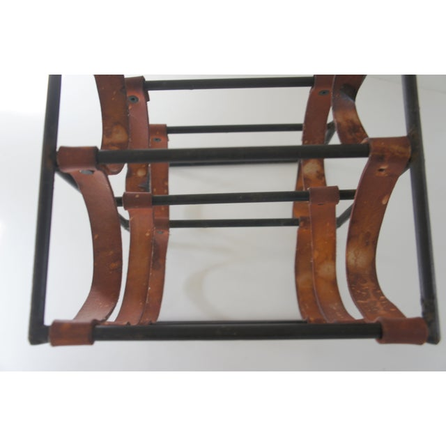 Metal Mid-Century Modern Arthur Umanoff Sculptural Wrought Iron and Leather Wine Rack For Sale - Image 7 of 13