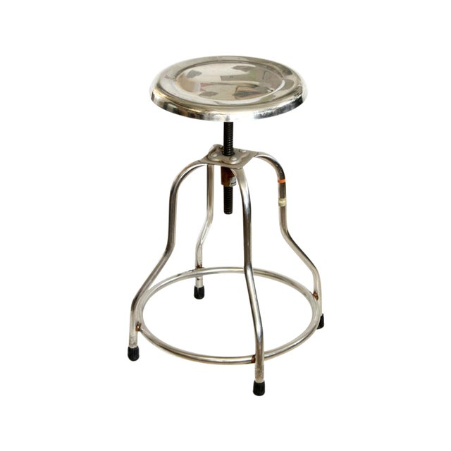 Industrial Adjustable Height Polished Stool - Image 1 of 4