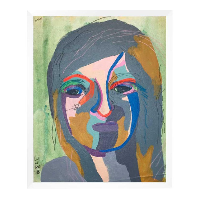This abstract portrait is by contemporary artist Linda Ward of Detroit. This portrait is #241 out of a series of 500...