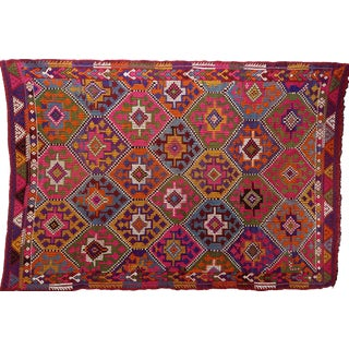 "Vintage Turkish Colorfull Embroidered Kilim Rug-5'3'x7'9"" For Sale"