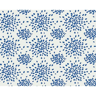 Hinson for the House of Scalamandre Fireworks Wallpaper in Blue on White For Sale