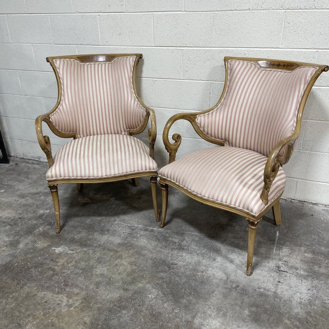 French Style Scrolled Arm Wood Carved Chairs - a Pair For Sale In Richmond - Image 6 of 6