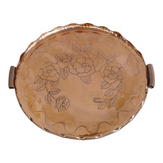 Art Deco Hand-Wrought Copper Tray W/ Handles From Coppercraft For Sale