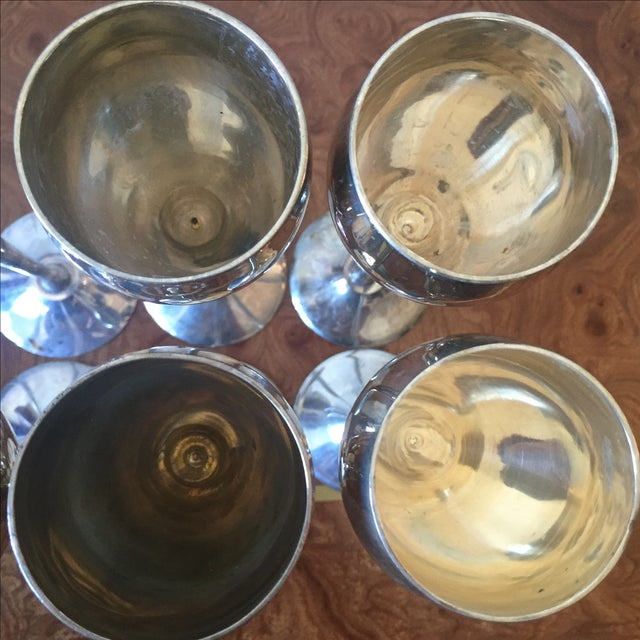 Silver Plated Goblets Flutes Glasses - 8 For Sale In New York - Image 6 of 9
