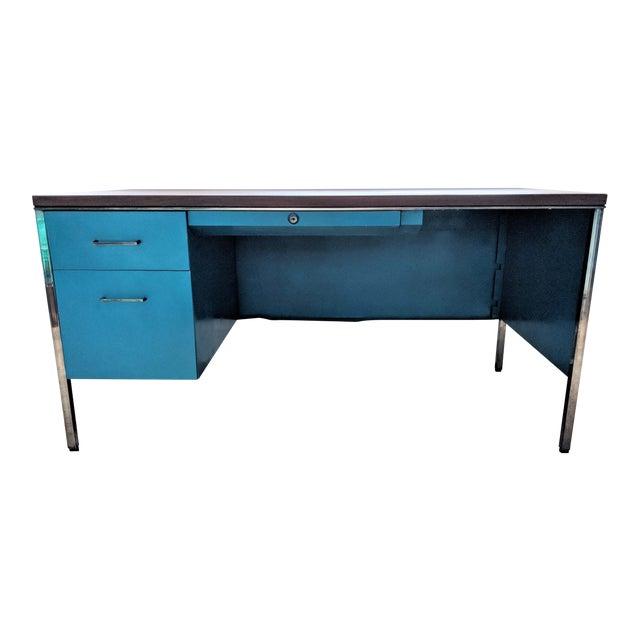 Teal Steelcase Tanker Desk For Sale
