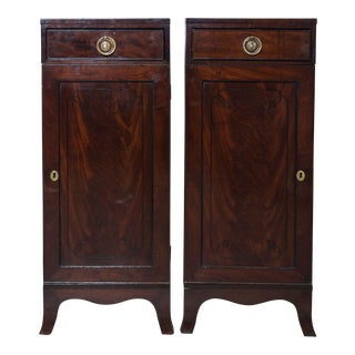 1880s English Traditional Mahogany Tall Cabinets - a Pair For Sale