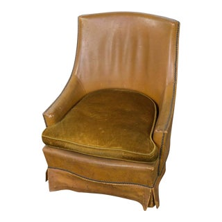 French Leather Armchair With Brass Nailheads For Sale
