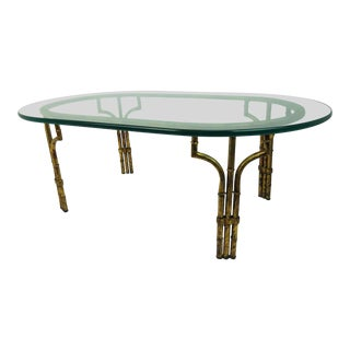 1960s Hollywood Regency Gilded Metal Faux Bamboo and Glass Coffee Table For Sale