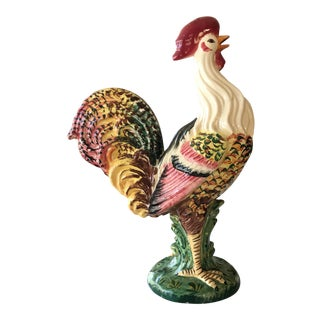 Large Italian Sculptural Ceramic Rooster Figurine